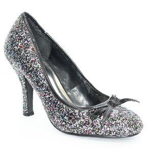 Diva Lounge Glitter Heels sz 8 Silver Rainbow